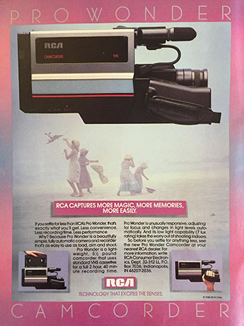picture of 80s ad for rca video camera